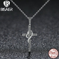 BISAER Authentic 100% 925 Sterling Silver Faith Love Crossing With Heart Pendants Necklaces Fashion Jewelry HSN104