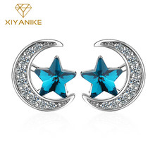 XIYANIKE 925 Sterling Silver New Fashion Blue Stars Moon Crystal Stud Earrings Charm Rhinestone Ear Hoops Jewelry For Women Gift(China)