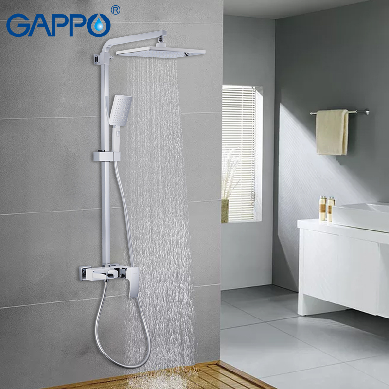 GAPPO Sanitary Ware Suite chrome bathroom massage showers waterfall Rainfall bath mixer shower sets wall mounted shower heads