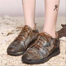 Personalized unique female shoes casual genuine leather women shoes handmade vintage retro finishing shoes flats shoes