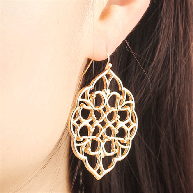 Baroque Hollow Ellipse Flower Leaf Earring Geometry Vintage Brincos Gold Silver Alloy Earing Ladies Party Jewellery Accessories