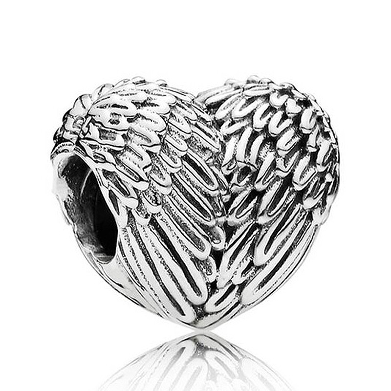 Authentic 925 Sterling Silver Bead Charm Cute Love Heart Angelic Feathers Beads Fit Pandora Bracelet Bangle DIY Jewelry