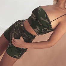 Sexy Cotton Camouflage Tube 2018 Top Women Sleeveless Backless Cropped Bandeau Camo Top Soft Strapless Boob Tube Bra Tops