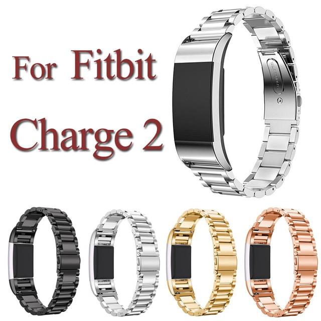 2016 nuevo tres brazalete de eslabones de acero inoxidable correa de fitbit cargo 2 smart watch banda de metal