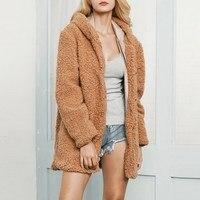 2018 Women Autumn Winter Hooded Overcoat Faux Fur Windproof Long Thick Coat Jacket Fleece Velvet Warm