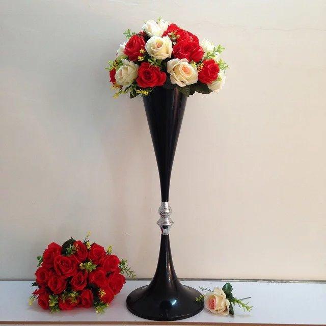 80cm Tall Wedding Flower Vase Metal Trumpet Vase For: 70 Cm Tall Wedding Black Flower Vase Metal Trumpet Vase