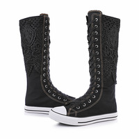 Plus Size 35 43 Women High Top Canvas Shoes Flats Breathable Knee High Boots Long Shoes