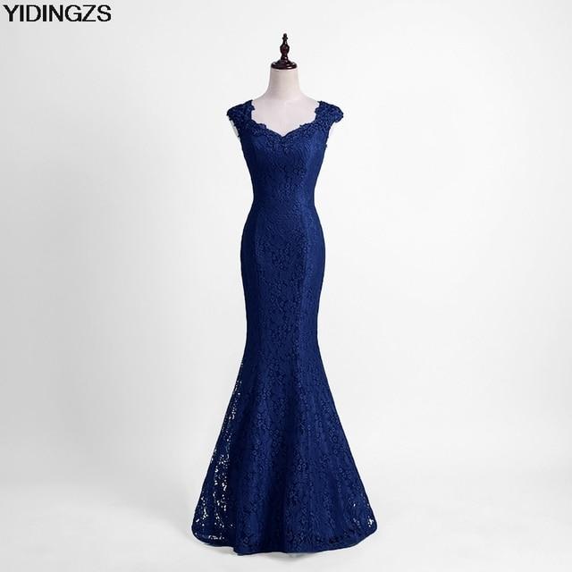 YIDINGZS Elegant Beads Lace Mermaid Bridesmaid Dress 2019 Slim Wine Red Wedding Party Dress