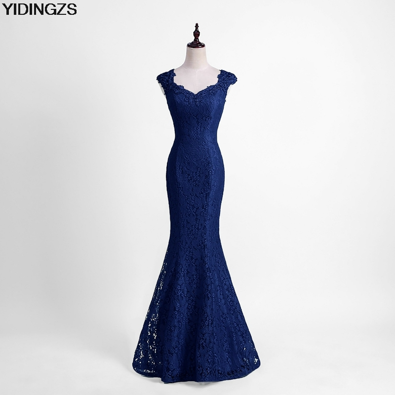 YIDINGZS Elegant Beads Lace Mermaid   Bridesmaid     Dress   2019 Slim Wine Red Wedding Party   Dress