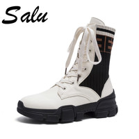 Salu 2018 ankle boots for women Genuine leather lace up Martin boots fashion comfortable platform shoes woman plus size 11 10