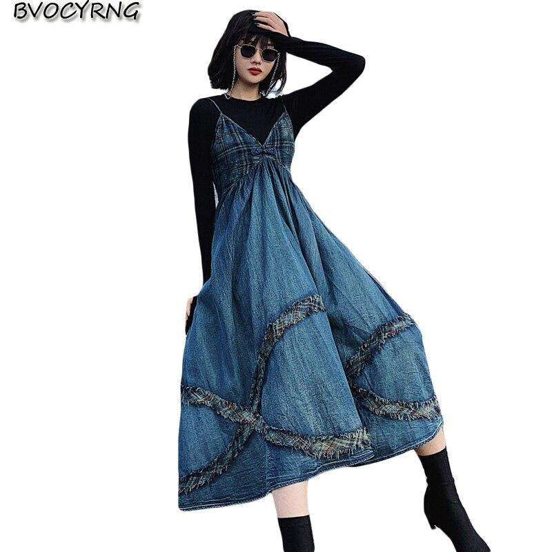 Boutique denim robe femmes printemps nouveau plaid Patchwork rétro Spaghetti sangle longues robes de soirée femme Slim grande balançoire robe