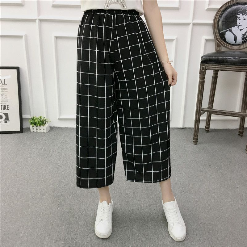 ETOSELL Women New Summer Wide Leg Pants Casual Loose High Elastic Waist Harem Pants Loose Belt Striped Elasticated Trousers 8