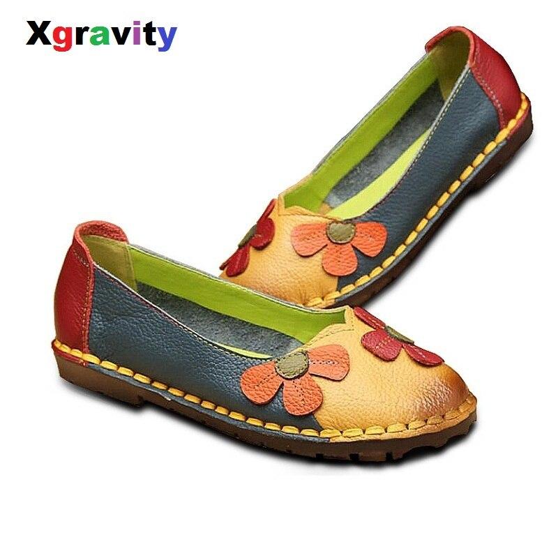 Xgravity D'été Automne De Fleur De Mode Conception Bout Rond Mix Couleur Plat Chaussures Vintage En Cuir Véritable Femmes Appartements Fille Mocassins A006