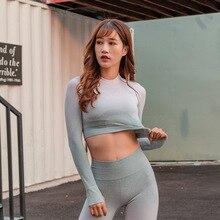 Для женщин Набор для йоги Костюмы Ombre бесшовные леггинсы + укороченные футболки тренировочный костюм для занятий йогой Для женщин с длинным рукавом Фитнес комплект Active одежда