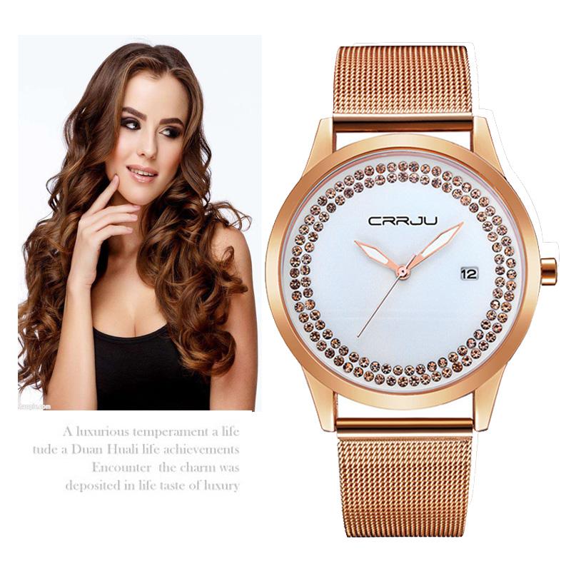 Prix pour 2016 Marque De Luxe CRRJU Mode Femmes Montre En Or Occasionnel Robe Dames Bracelet À Quartz Poignet montres Célèbre Femme Cadeaux Hodinky