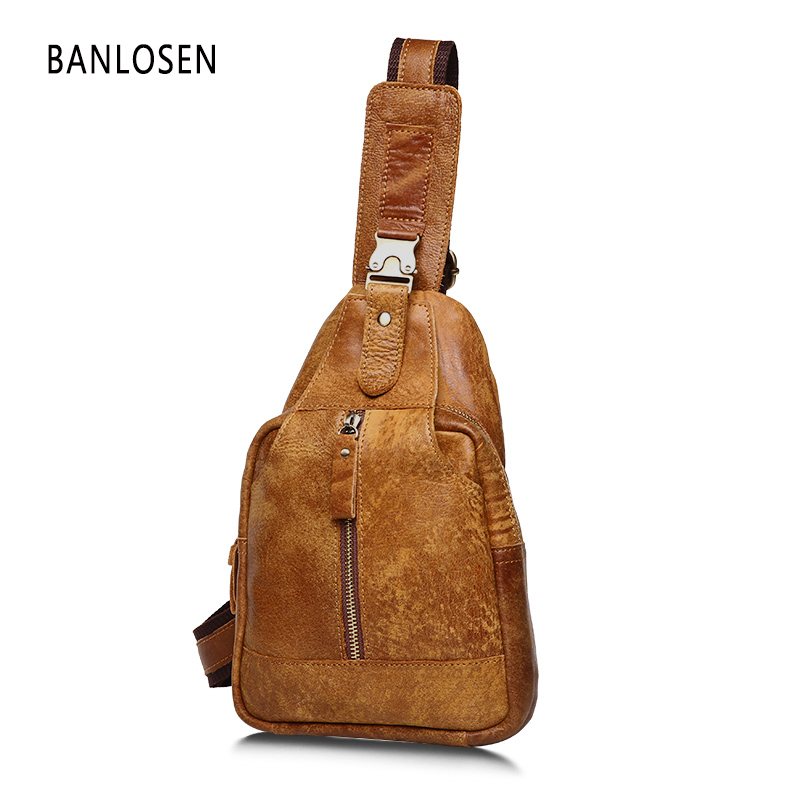 Men's Vintage Cowhide Genuine Leather Bag Chest Pack Messenger Travel Shoulder Cross Body Sling Pack Chest Casual Bag YS1312 remote touch wall switch uk standard 1 gang 1way rf control light white crystal glass panel switches electrical