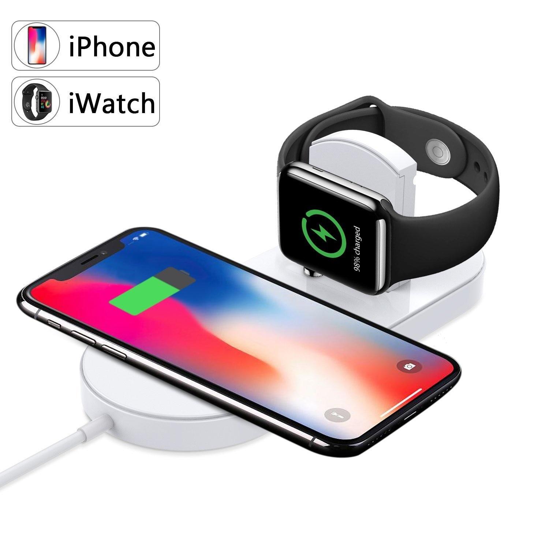 Chargeur sans fil A.S Qi charge rapide pour Apple Watch 3 iWatch iPhone X 8 plus 2 en 1 adaptateur de téléphone USB sans fil rapide