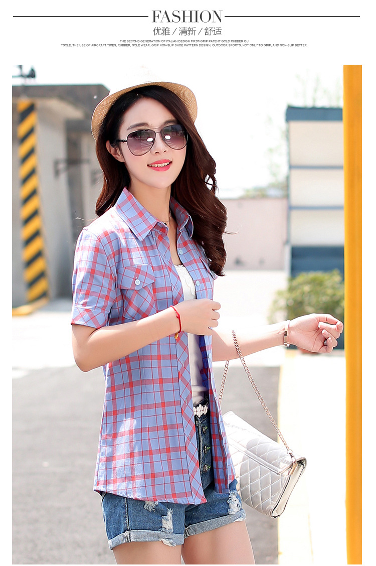 HTB1wr2BHFXXXXccXVXXq6xXFXXXF - New 2017 Summer Style Plaid Print Short Sleeve Shirts Women