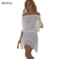 Vancol 2017 Summer Sexy See Through Beach Casual Dress Maxi Wedding Party Women Slash Neck Lace