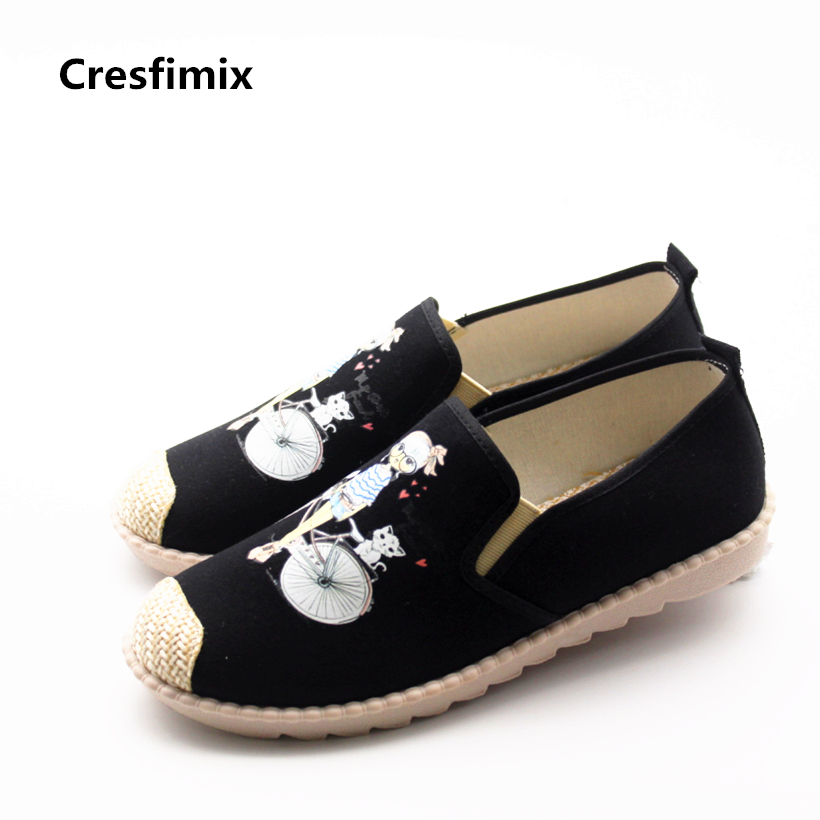 Cresfimix Sapatos Femininas Women Casual Size 35 To 50 Flat Shoes Lady Cute Spring & Summer Slip On Flats Woman's Canvas Shoes