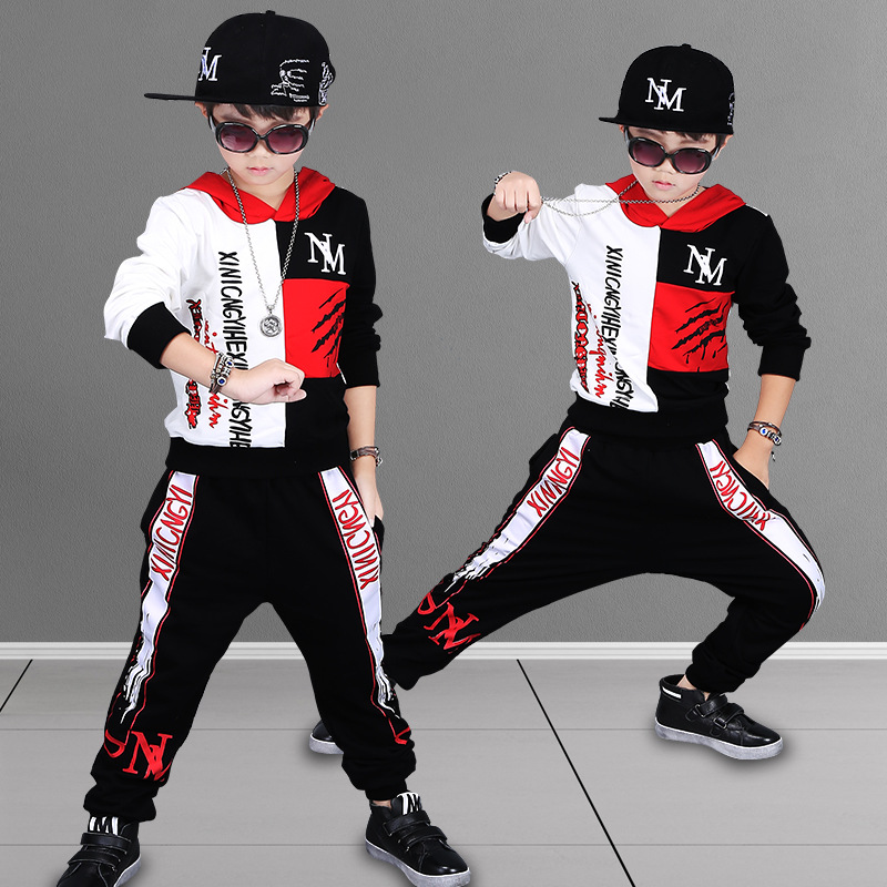 Hot Children's Hip Hop Clothing Set Boys Spring Fall Sports Suit Kids Fashion Printing Pattern Outfit Dancing Dress Costume A839