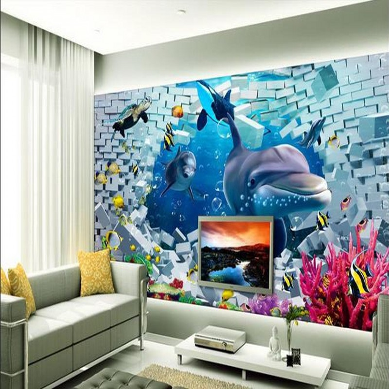 Beibehang Wallpaper 3d Stereoscopic Bottom Beach Word Dolphin TV Backdrop  Wallpaper Living Room Bedroom Murals Papel Part 83