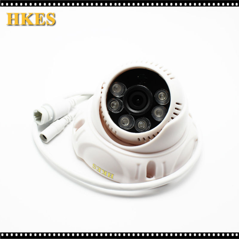 HKES POE Indoor IP Camera 6 Array LED IR HD 1920 x 1080P 2.0MP Dome Security Camera ONVIF Night Vision P2P CCTV Cam with IR-Cut onvif poe cable 720p 3 6mm lens indoor ir night vision network 1 0mp cctv hd camera p2p security mini dome ip camera poe