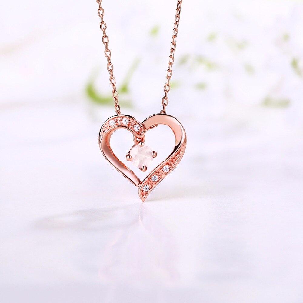 4 Prongs 1 20CT Round Cut Amethyst Topaz Rose Quartz Amethyst Hearts Pendants Necklaces 925 Sterling