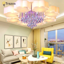 Crystal Led Ceiling Lights modern fashionable design dining room lamp pendente de teto cristal white shade acrylic lustre