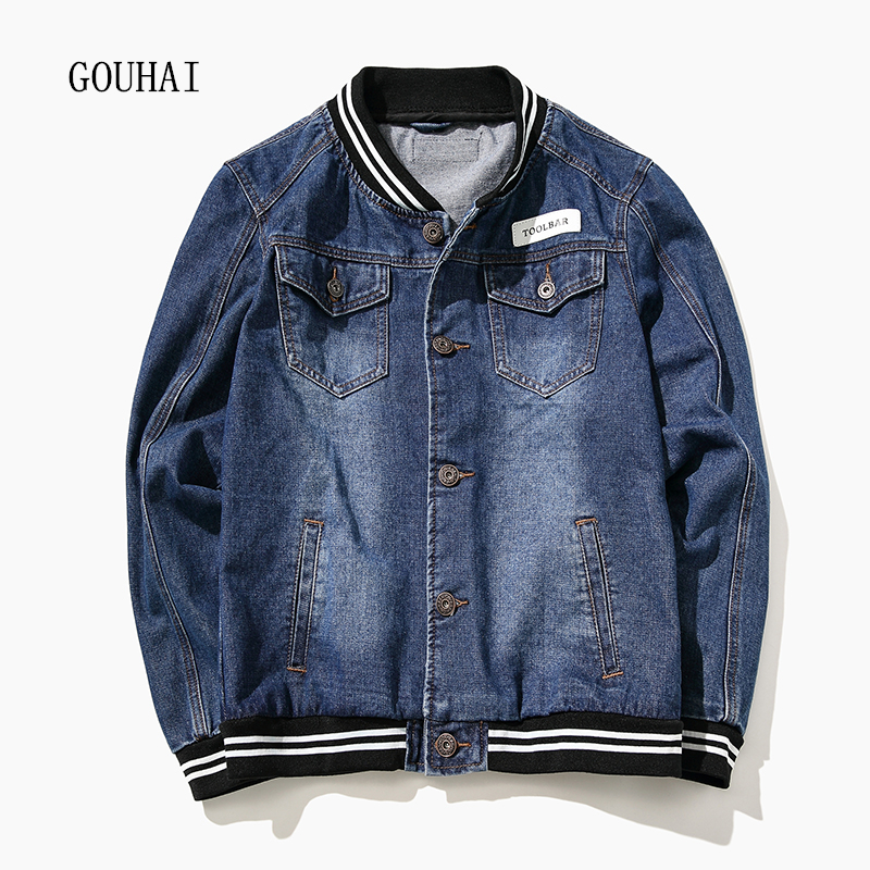 M-7XL 2017 Autumn Winter Denim Jacket Mens Bomber Jackets Fashion Solid Baseball Outwear Male Cowboy Jeans Jacket Men Plus Size