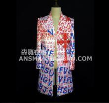 Men's Fashion slim DJ singer GD Bigbang 2PM captain Jun.okay  lengthy letter swimsuit coat costumes clothes formal Dress Blazers S-5XL
