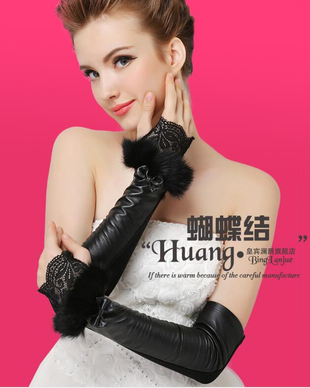 Autumn Female Gloves Women's Leather Gloves Half-finger Gloves Bowknot Lace Cuff