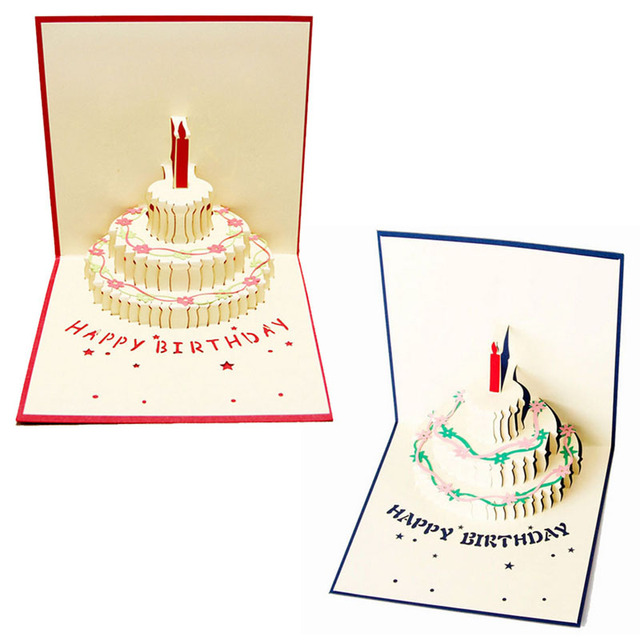 3d Pop Up Greeting Card Handmade Happy Birthday Cake Day Thank You