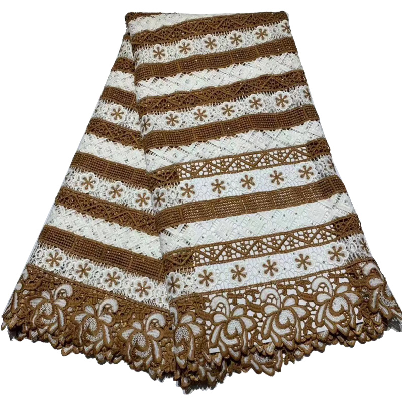 (5yards/pc) high quality brown color African guipure lace beautiful embroidered cord lace fabric for party dress  FLA40(5yards/pc) high quality brown color African guipure lace beautiful embroidered cord lace fabric for party dress  FLA40