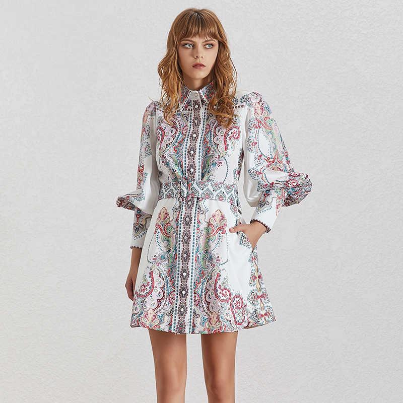 TWOTWINSTYLE винтажное женское платье с принтом, с отворотом и рукавами-фонариками, с высокой талией и поясом, мини-платья на пуговицах, женские модные летние платья