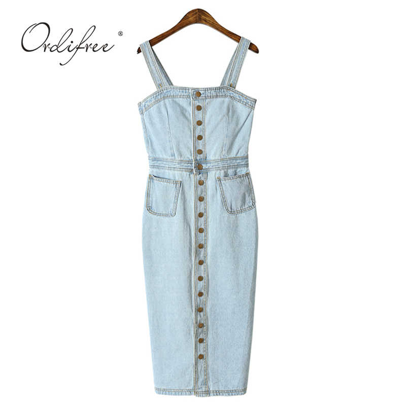 404f42efc7 ... Ordifree 2019 Summer Women Denim Dress Sundress Cotton Sarafan Overall  Dress Vintage Blue Casual Sexy Bodycon ...