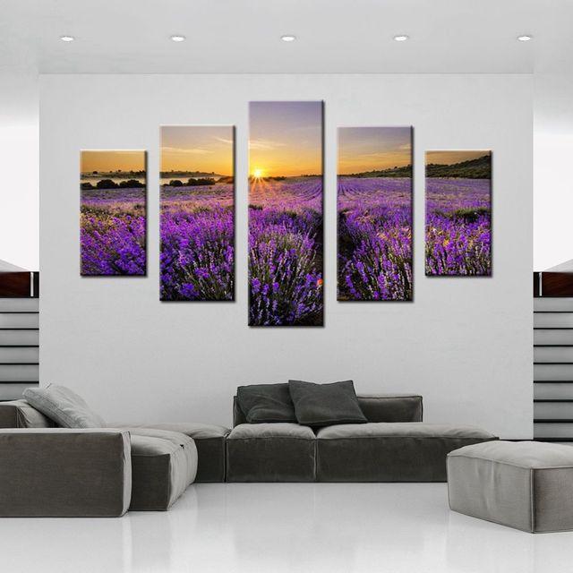 Elegant Mode Lila Blume Lavender Sea Wandbilder Malerei Leinwand Für Moderne  Zuhause Wohnzimmer Wandbild Dekoration Drop Schiff
