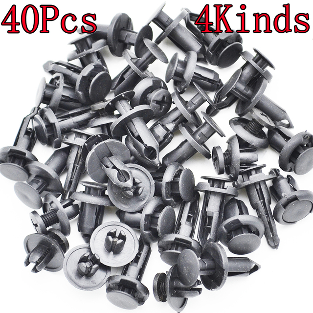 Xukey 40x Car Plastic Rivet Bumper Fender Retainer Fastener Mud Flaps Push Clips Pin Fit For BMW /Ford /Toyota /Chevrolet