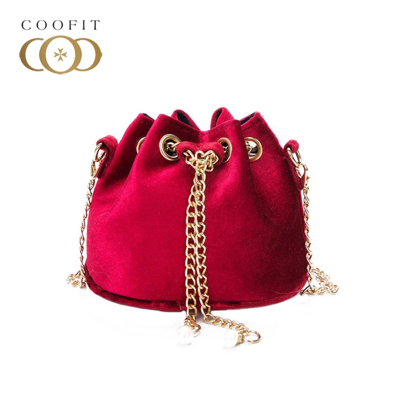 coofit Lovely Little Girls Bucket Bag Plush Mini Satchel Bag Crossbody Bag Shoulder Bag with Chain Strap Muti-Colors For Kids