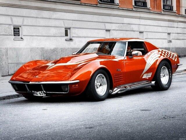 chevrolet corvette rouge rue de voiture auto art norme impression affiche txhome d2472 dans. Black Bedroom Furniture Sets. Home Design Ideas