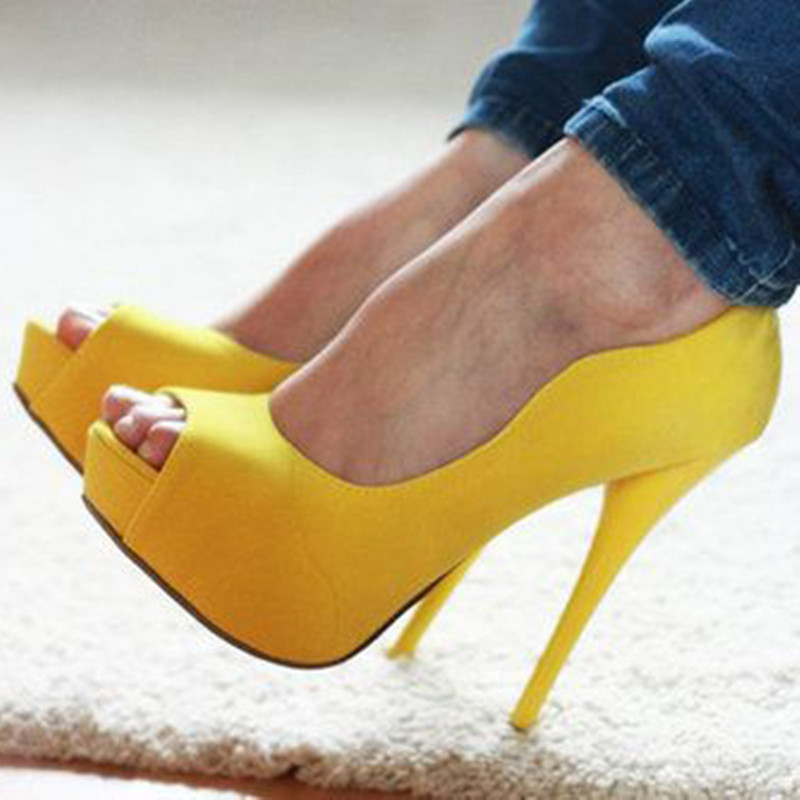 SHOFOO shoes,2017 new fashion free shipping, yellow leather, 12.5 cm high-heeled shoes, peep toe shoes. SIZE:34-45 free shipping 2017 new arival hollowed out peep toe canvas shoes fashion flat bottom denim shoe ginger green black white