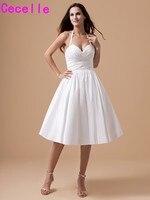 Vintage Vestidos de Novia Corto informal Halter Tafetán 1950 s 60 s Little White Vestidos de Novia Por Encargo de longitud de Té la Recepción vestido