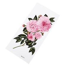 Розовые цветы водонепроницаемые Временные татуировки водные поворот Цветочные наклейки Красота Здоровье Декорации для тела, рук девушки сексуальные наклейки