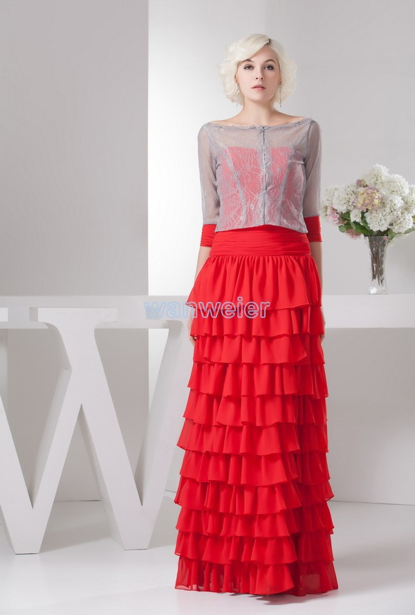 Free Shipping 2016 New Design Hot High Neck Long Sleeve Brides Maid Dress With Jacket Red Chiffon Mother Of The Bride Dresses
