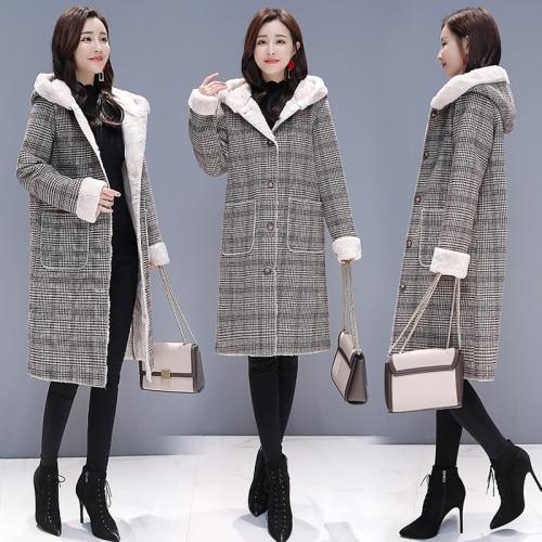Vêtements As Femmes Capuche Coton Photo Épaissi Élégant Carreaux Casaco Imperméable Femme Tranchée Pour À Manteau Feminino rembourré Vent Longue SxTw0xa