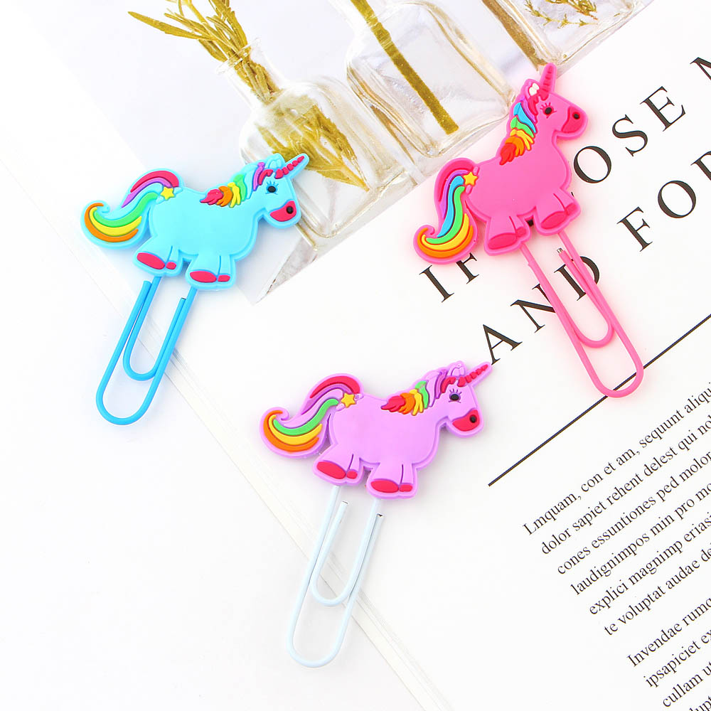 3Pcs/lot Creative Unicorn Bookmark Cute Kawaii Book Markers Paper Clip For Kids Gift Korean Stationery Student