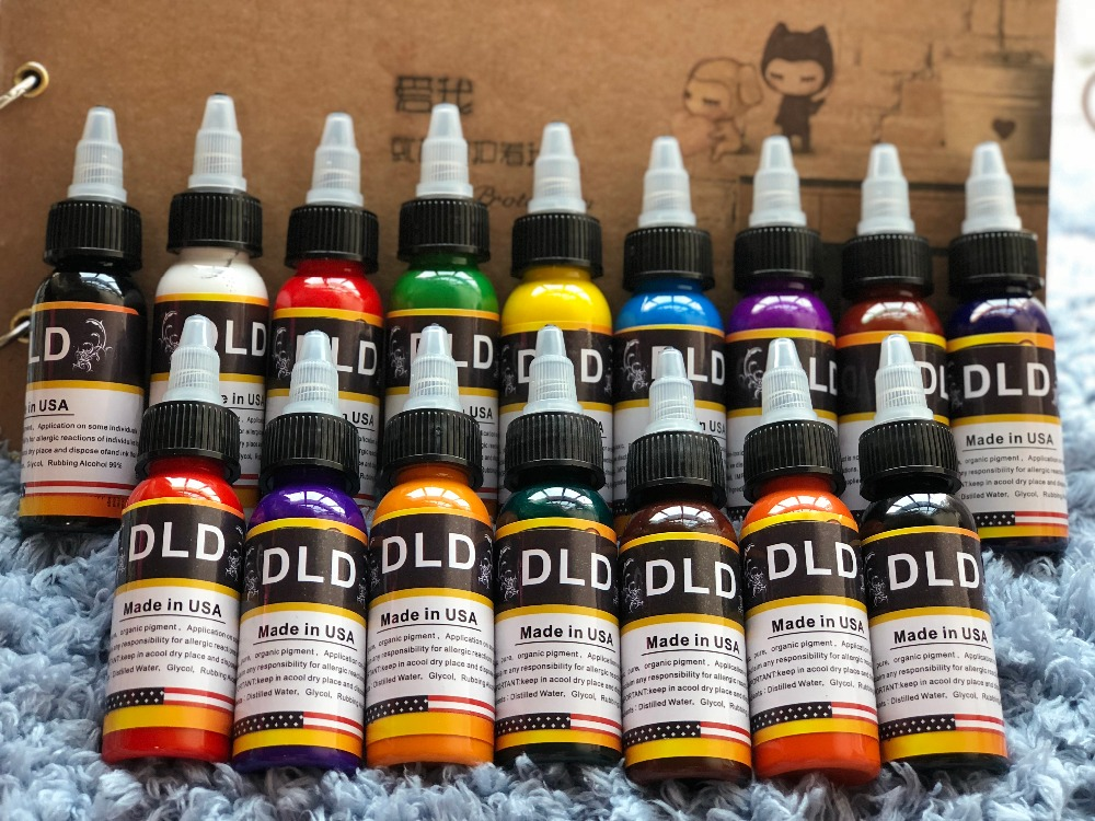 DLD16 Color Permanent Line Professional Tattoo Ink Pigment 30ml / bottle Body Tattoo Art Supplies Permanent Tattoo Ink 16pcs DLD16 Color Permanent Line Professional Tattoo Ink Pigment 30ml / bottle Body Tattoo Art Supplies Permanent Tattoo Ink 16pcs