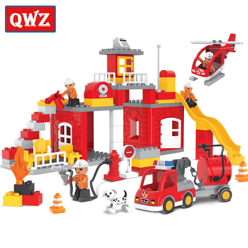 QWZ Large Size 90PCS City Fire Station Fire Engine Model Fireman Figures Block Brick Kids Toy Compatible With Duplo Baby Gifts qwz 60 90pcs city fire station fire engine duplo large size building blocks fireman figures compatible with duplo for kids toys