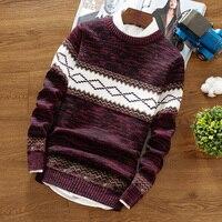 Весенне-осенний мужской пуловер с круглым вырезом, теплый повседневный вязаный джемпер, модный тонкий свитер в полоску для молодежи