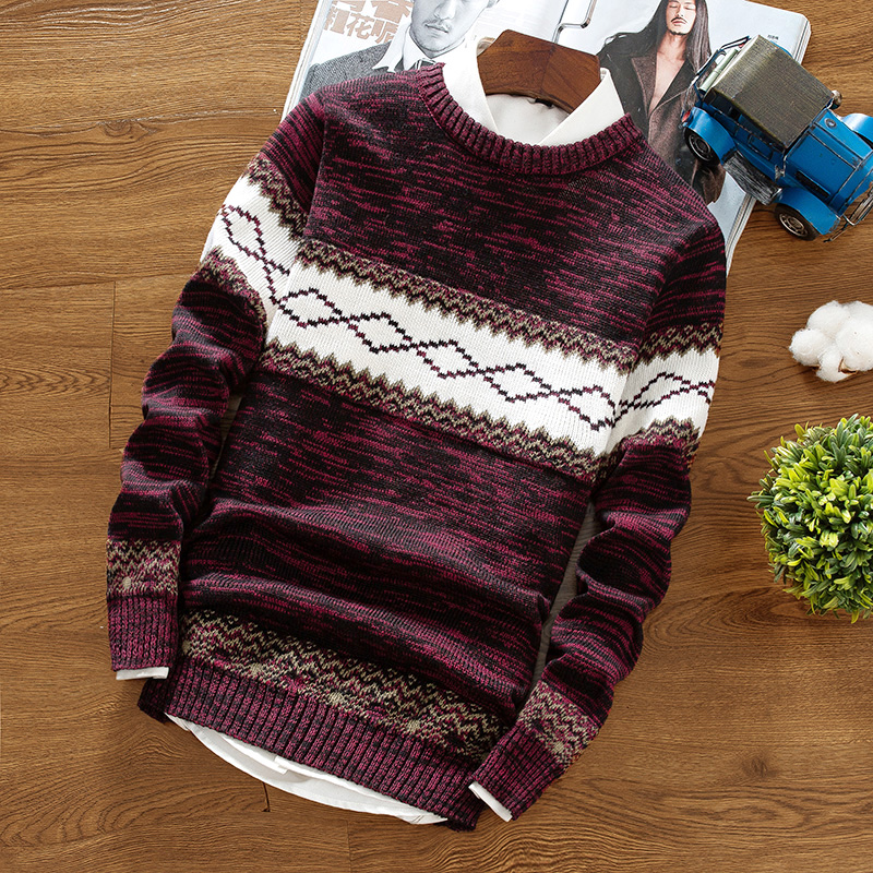 Shirt Pullover Sweater Spring Bottoming Knit Round-Neck Striped Warm Autumn Men's Trend title=